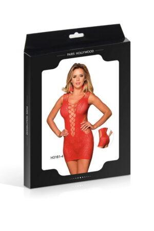 Φόρεμα διχτυωτό-κολλητό κόκκινο Paris Hollywood